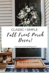 FALL FRONT PORCH DECOR,  #Decor #Fall #front #porch #ThanksgivingDesigninspiration #fallfrontporchdecor