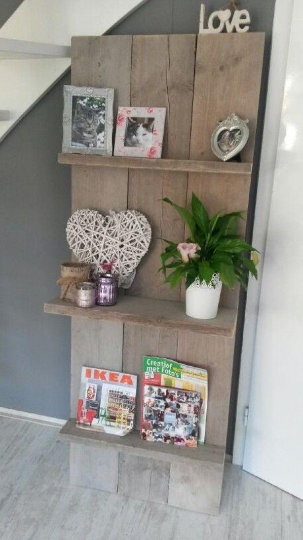 Leuk en stijlvol oud steigerhouten wandrek decoratie pinterest photos for Decoratie wc