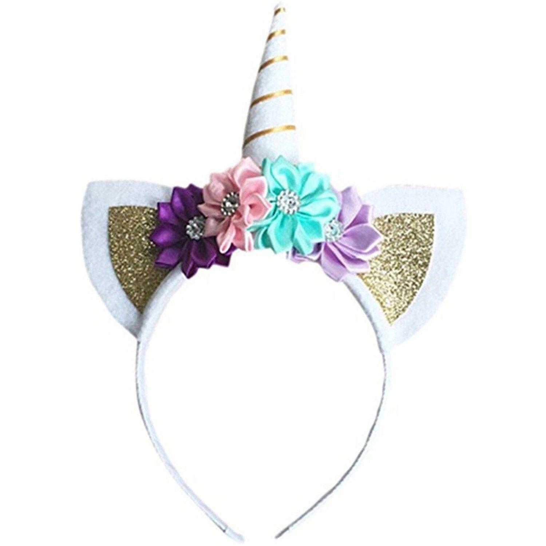 Unicorn Horn Ears Flower Headband Cosplay Costume Birthday Party Favour Gift
