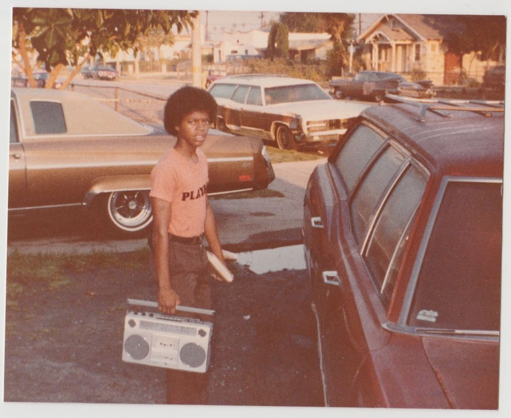 Vintage 70s PHOTO Young Black Guy W Afro Carrying Boom Box To Car