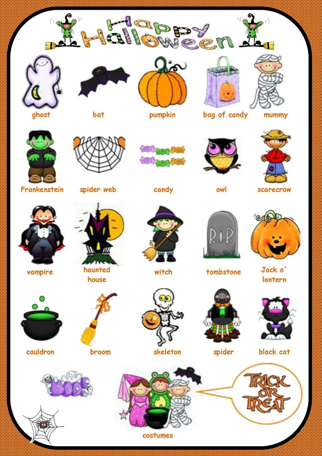 Halloween Vocabulary For Writing