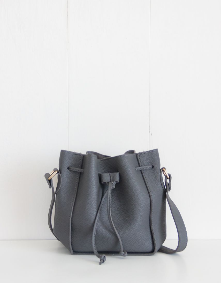 Macy Grey Bucket Shoulder Bag