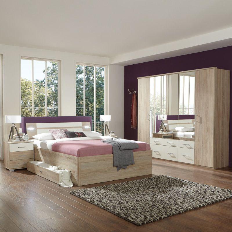 Schlafzimmerset 4tlg »MODEO« Eiche sägerau, alpinweiß