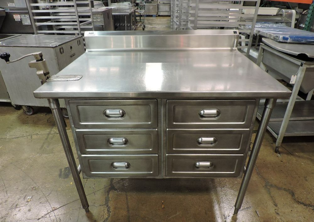 Commercial Stainless Steel Work Table With 6 Drawers Edlund No 1 Can Opener