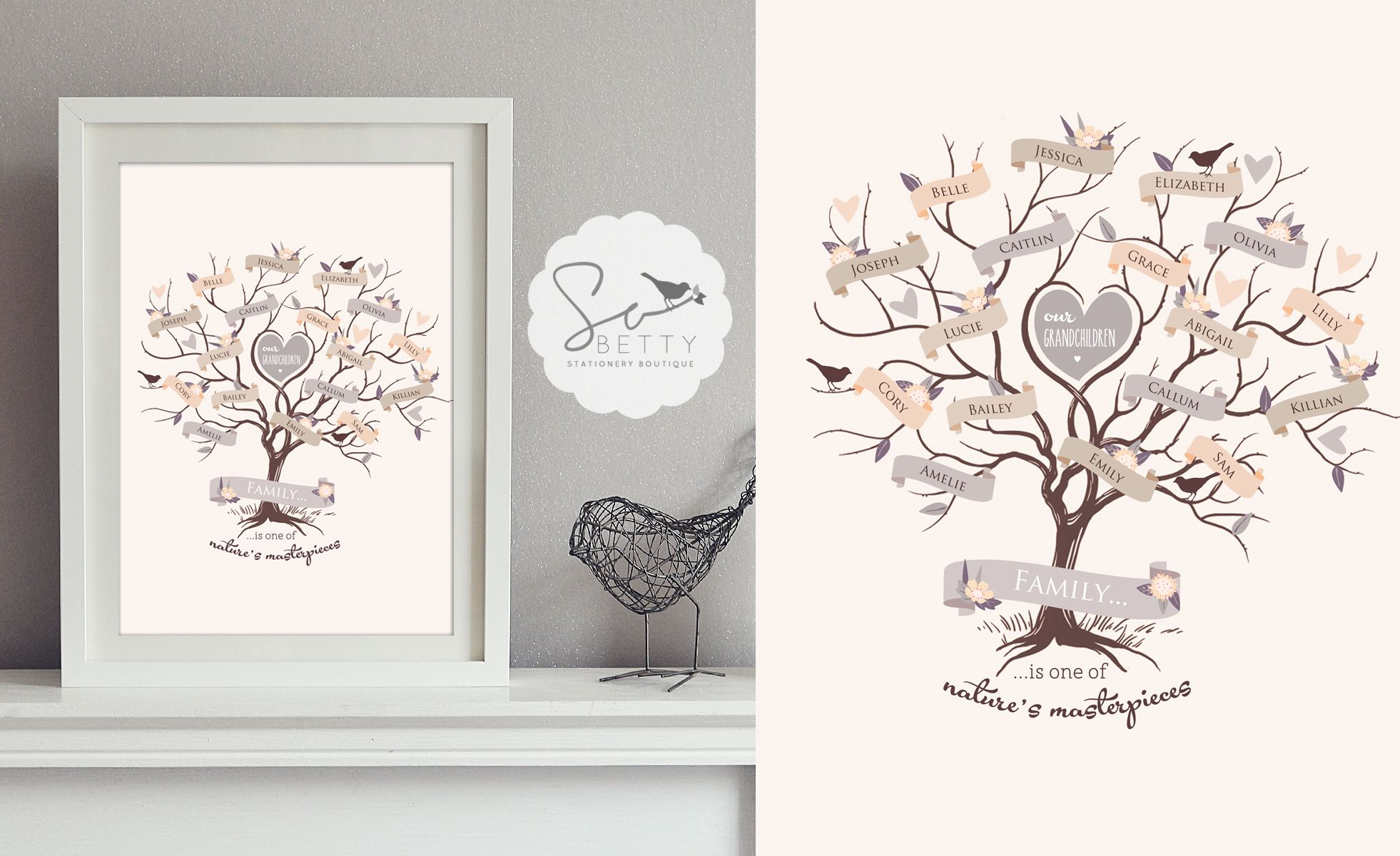 Beautiful Family Tree A3 Print - The Supermums Craft Fair
