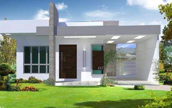 Fachadas De Casas Modernas 2015 De Una Planta   Buscar Con Google