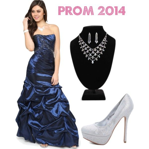 deb prom navy blue dress with silver jewelry set and pumps