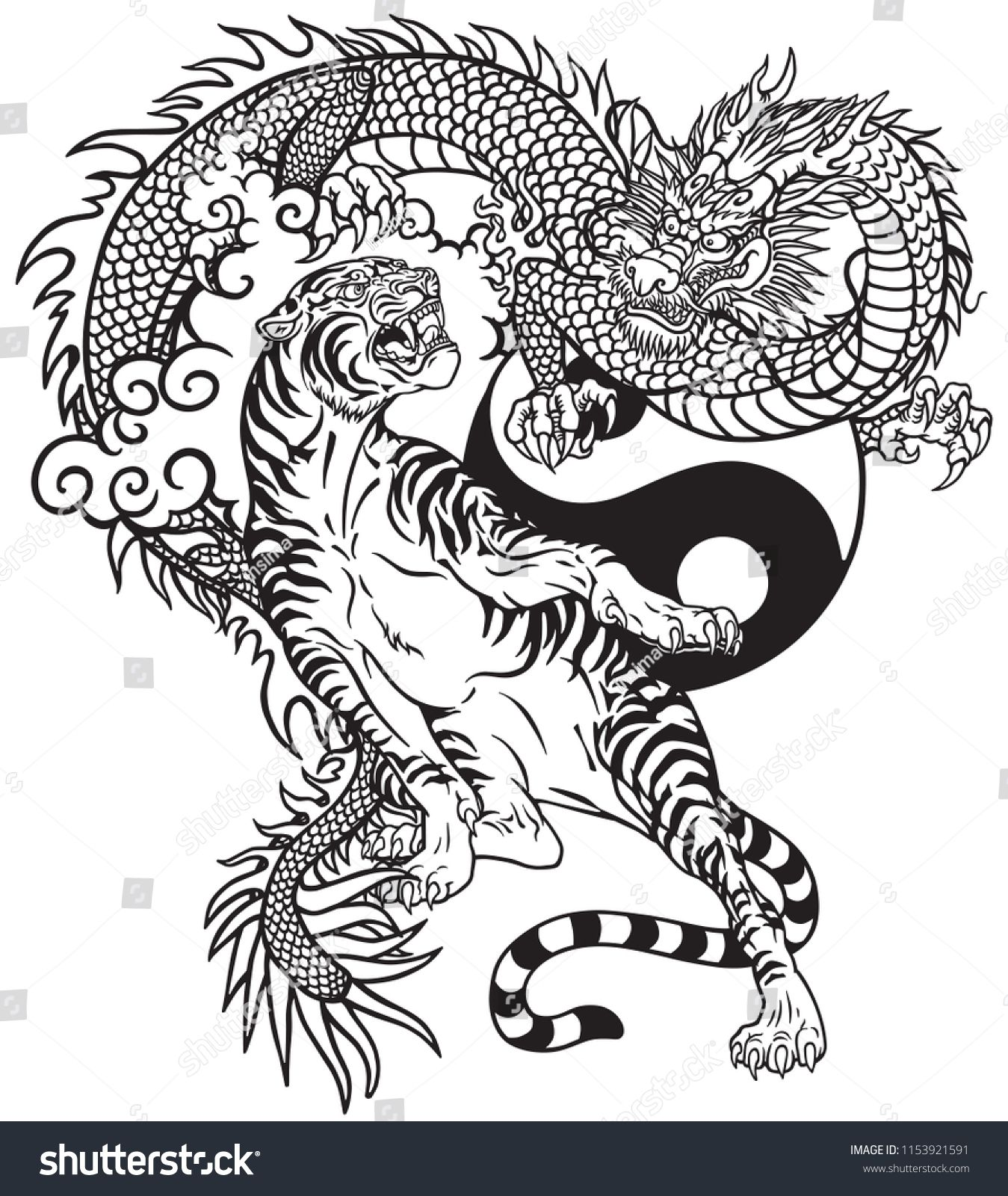 Chinese Dragon Versus Tiger Black And White Tattoo Vector Illustration Included Yin Yang Symbo Dragon Tattoo Images Dragon Tiger Tattoo Chinese Dragon Tattoos