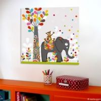 Tableau color chambre enfant th me animaux de la jungle for Decoration murale jungle