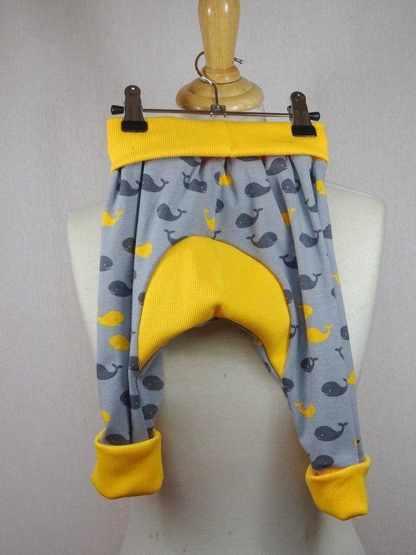 pantalon sarouel bébé en jersey motif petites baleines