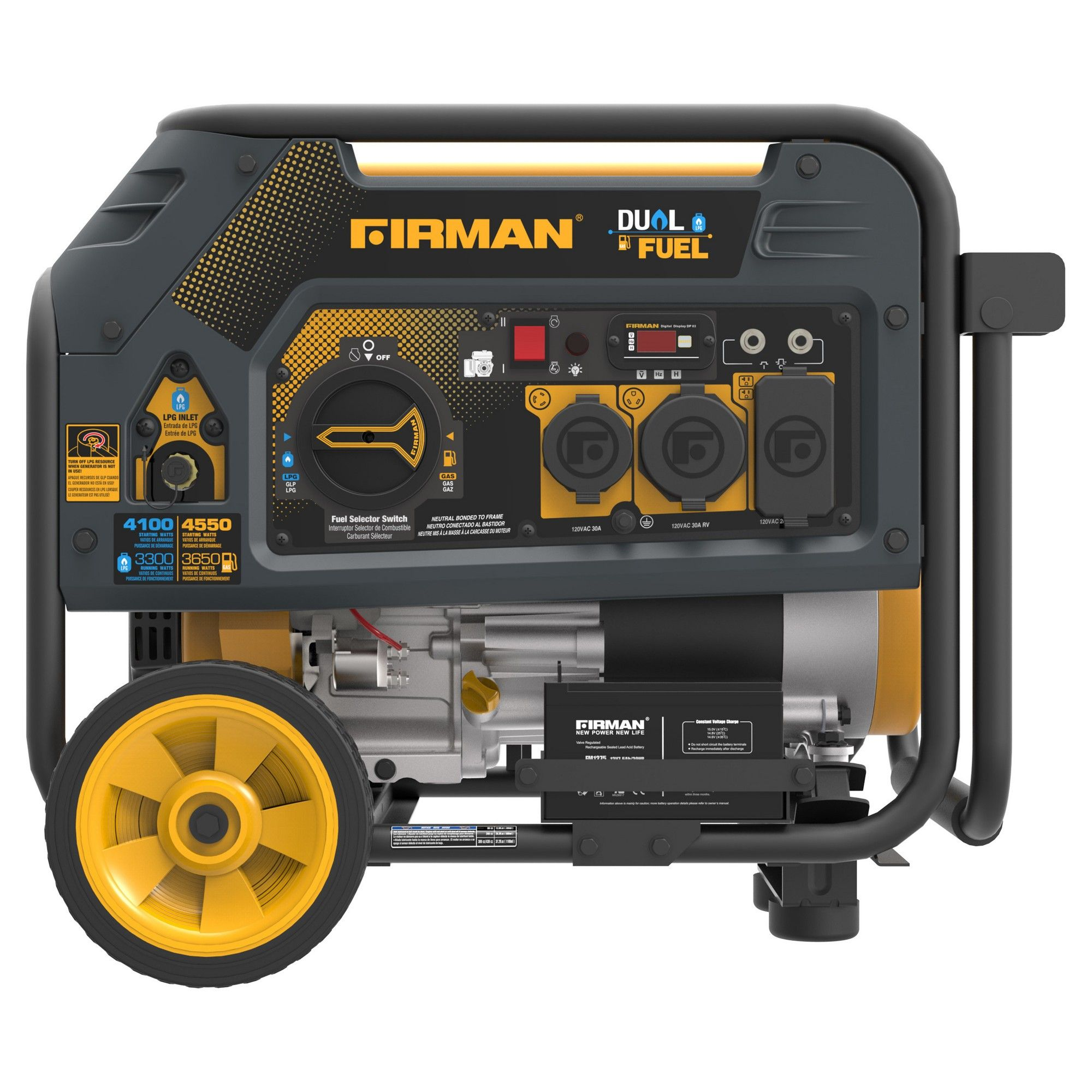 3650 4550w hybrid series dual fuel generator with electric start non