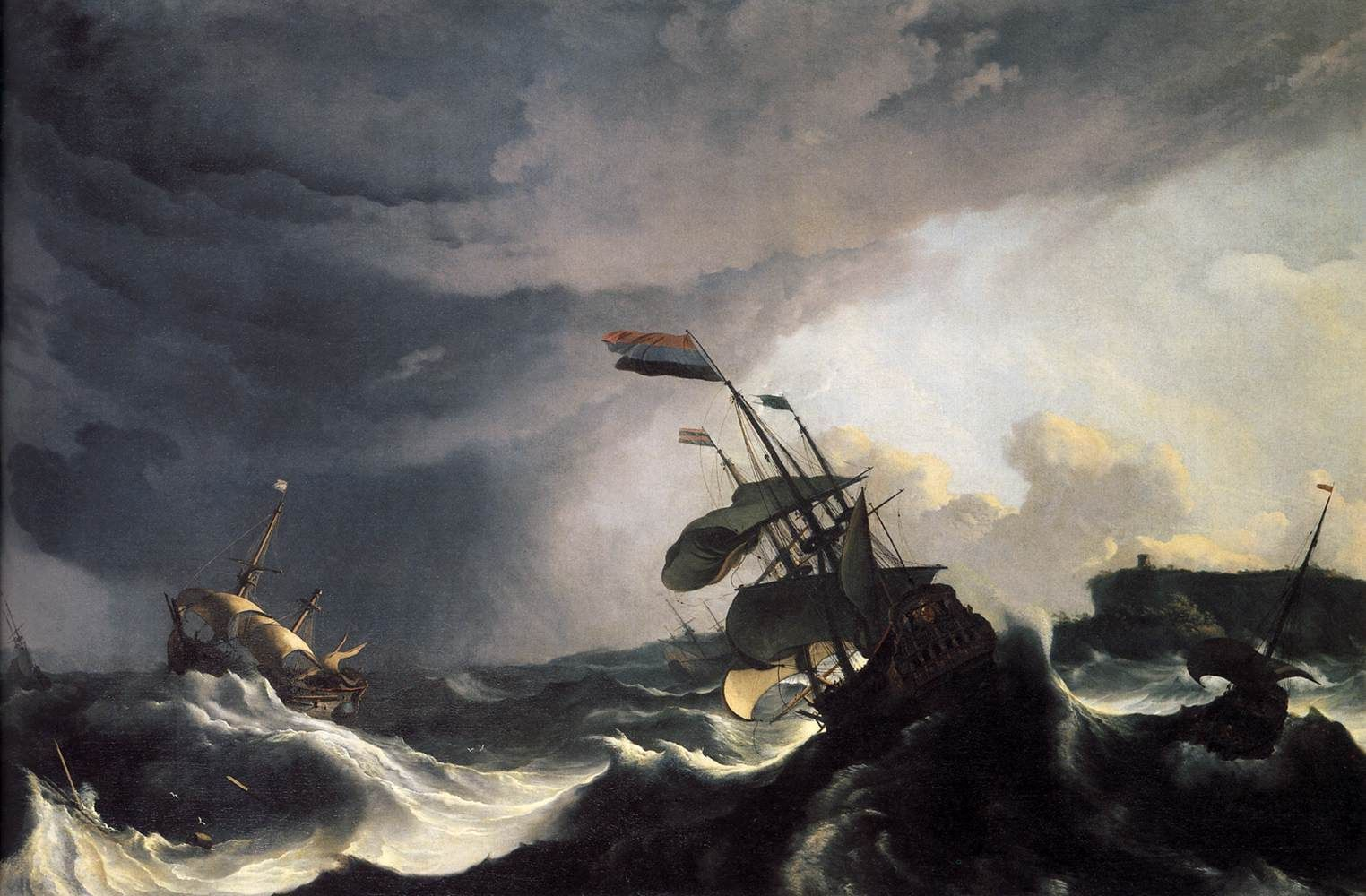 Ships In Distress In A Raging Storm 1690 Painting Ludolf Backhuysen Oil Paintings