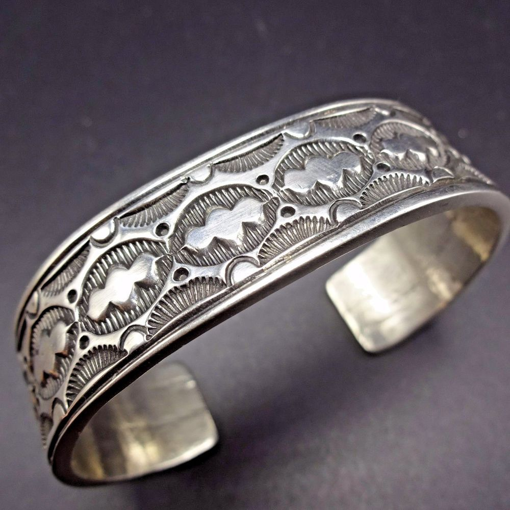 Navajo Sterling Silver Hand Stamped And Signed Cuff Bracelet