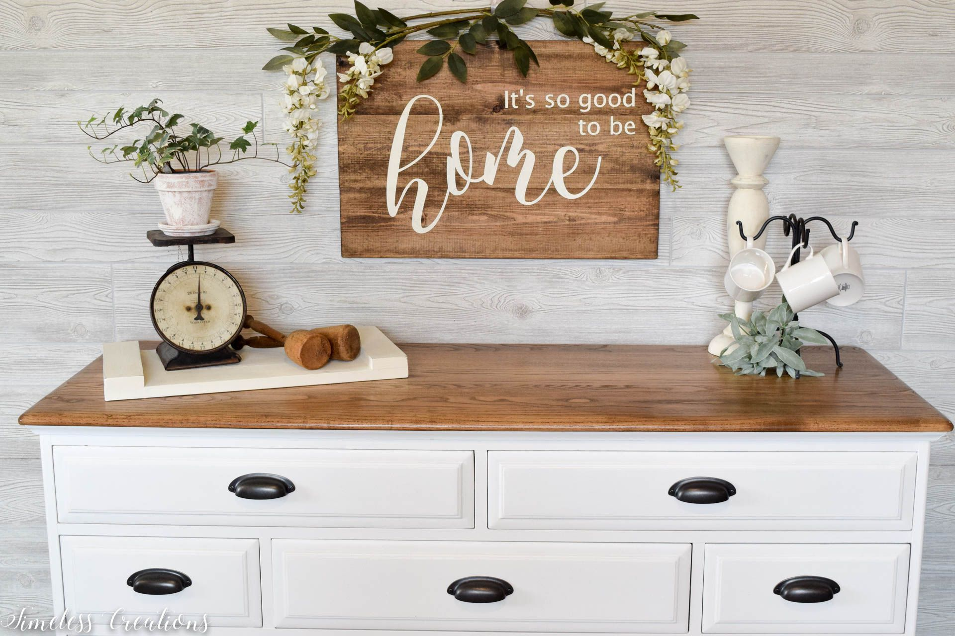 The Epitome Of Farmhouse Style White And Wood Dresser Timeless Creations White Bedroom Furniture With Wood Top White Painted Furniture Wood Dresser White and natural wood dresser