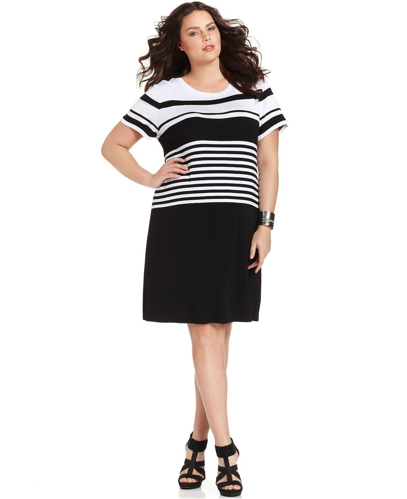 Calvin Klein Plus Size Dress, Short-Sleeve Striped - Plus Size ...