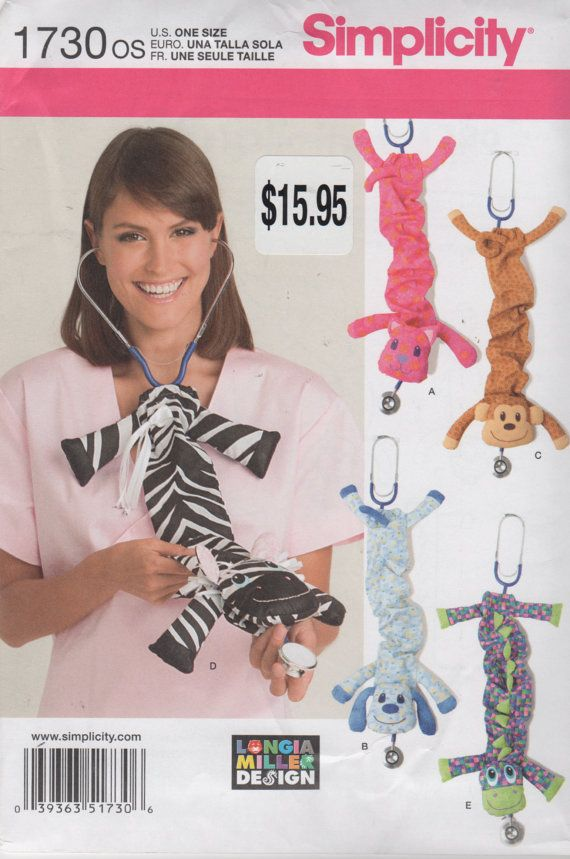 Simplicity 1730 Designer Animal Stethoscope Covers Pattern Monkey ...