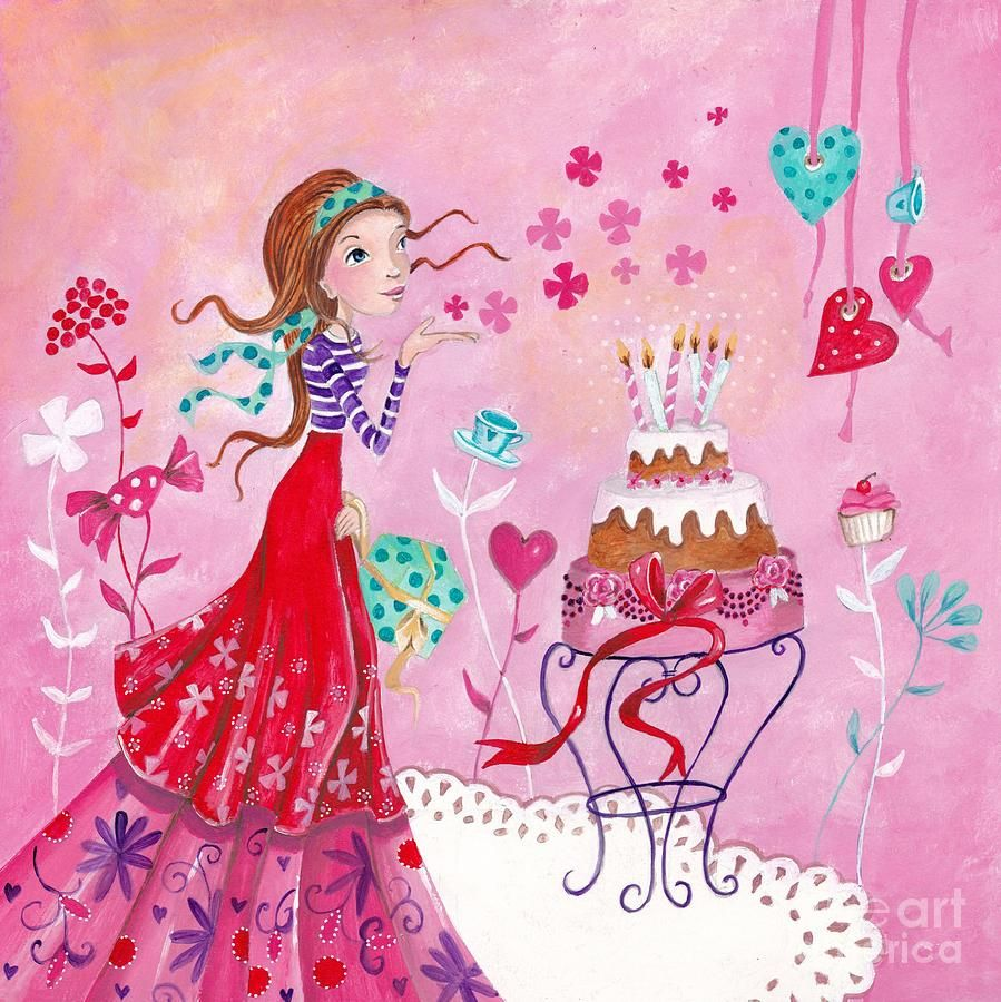 Birthday Girl Painting by Caroline Bonne-Muller - Birthday Girl Fine