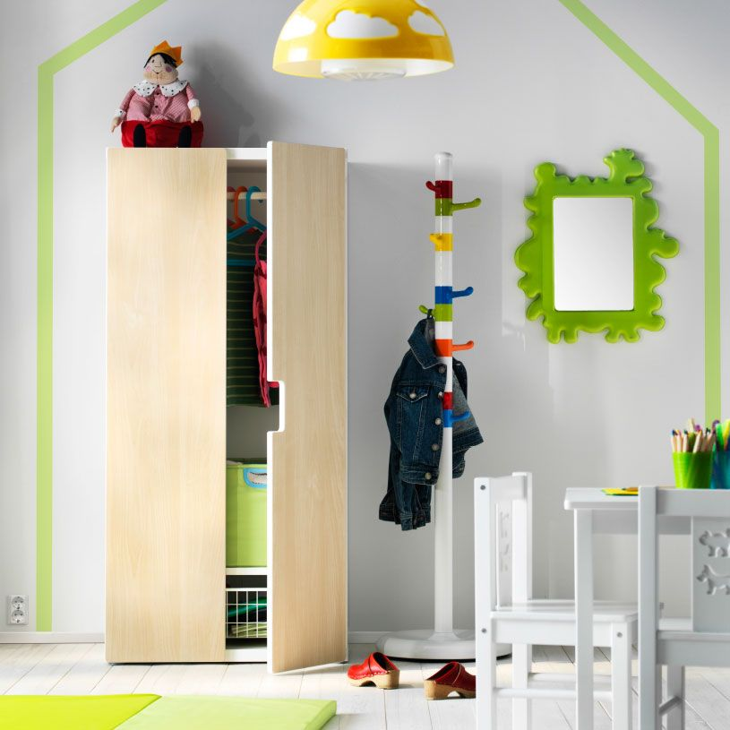 Playroom Storage With A White Stuva Wardrobe With Birch Doors And A