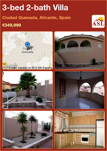 3-bed 2-bath Villa in Ciudad Quesada, Alicante, Spain ►€349,999 #PropertyForSaleInSpain