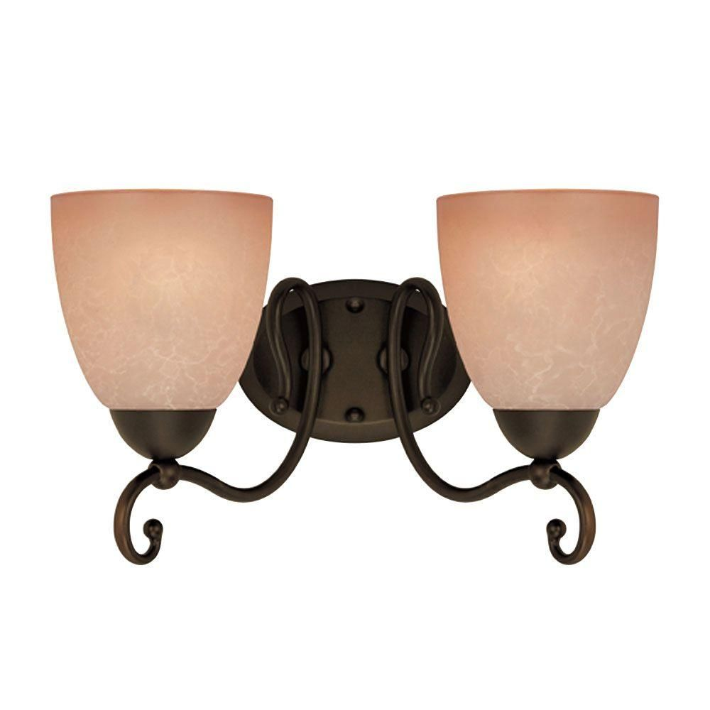 Westinghouse 2 Light Oil Rubbed Bronze Interior Wall Fixture With Aged Alabaster Glass