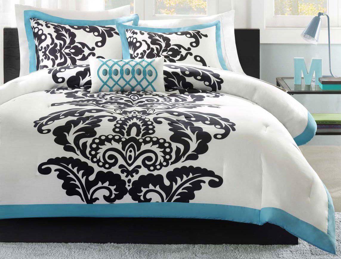 Gothic Damask Modern Black White Teal Beautiful Comforter Set Full
