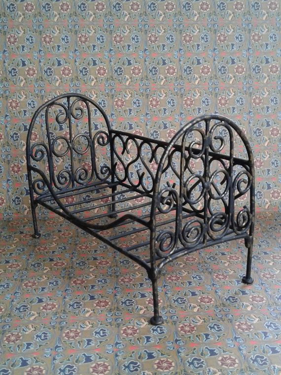 vintage metal doll bedcrib doll metal made