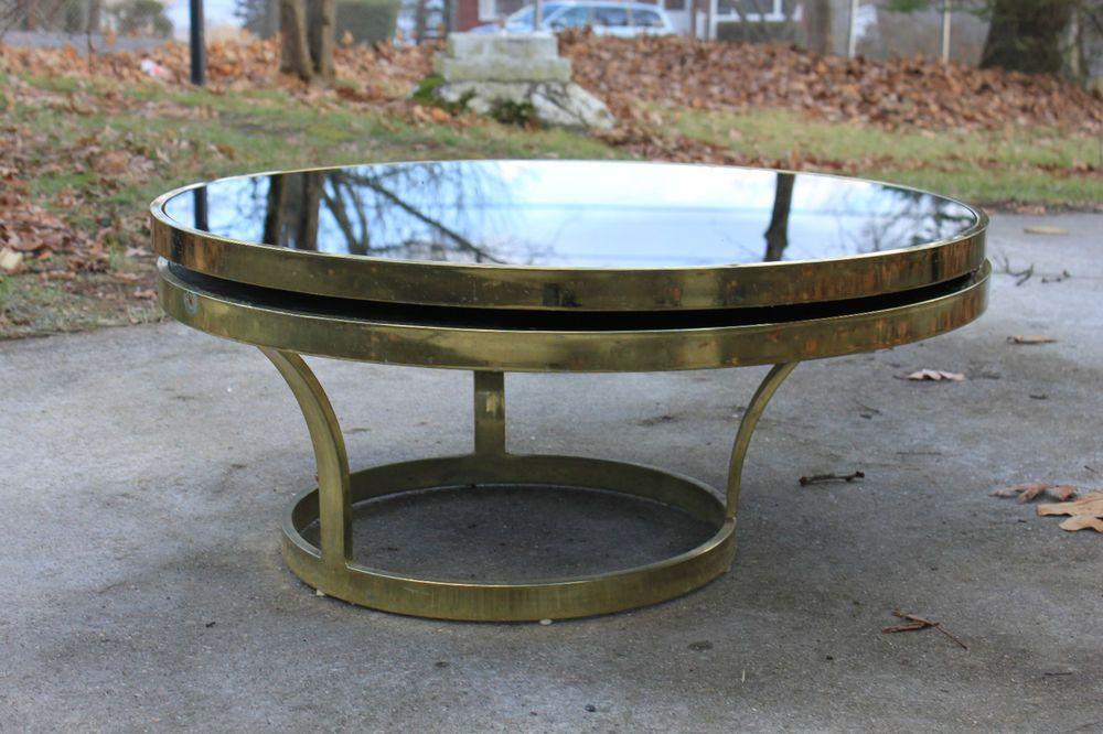 Italian Round Black Glass Brass Coffee Table With Swivel Top Tiers