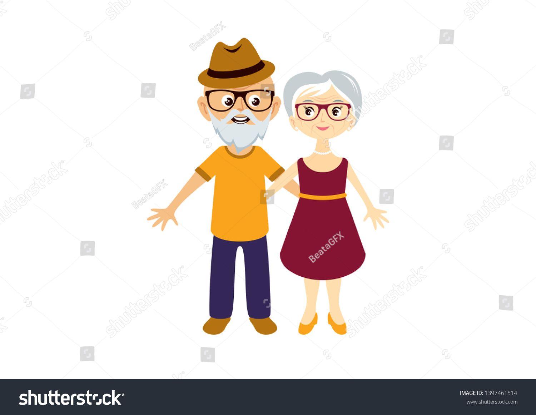 Elderly Couple In Love Illustration Elderly Cartoon Character Cute Elderly Couple In Love Cartoon Charact Love Illustration Cute Illustration Elderly Couples