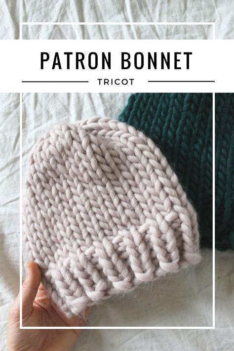 Patron facile pour tricoter un bonnet | Tricot bonnet facile, Bonnet tricot, Tuto bonnet tricot