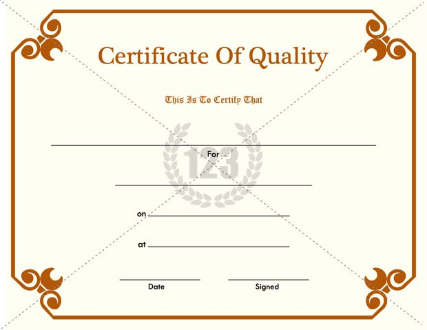 Certificate Of Quality Pdf Free Download  Certificate