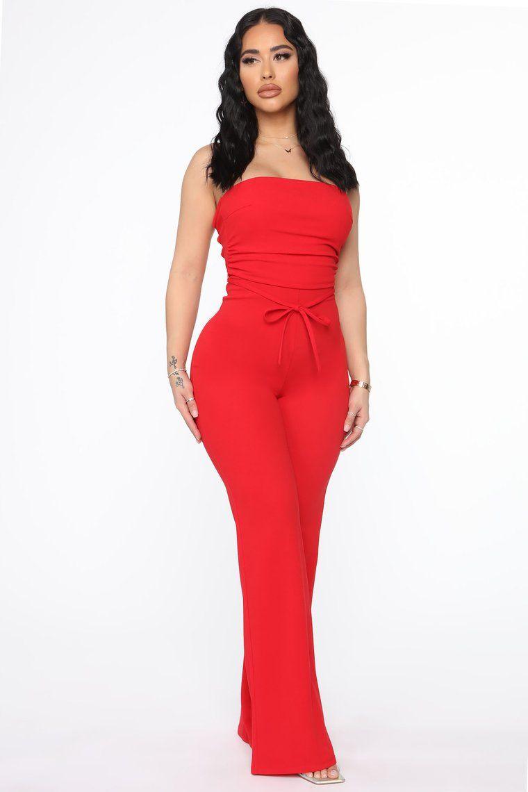 Thea Jumpsuit Red in 2021 Fashion nova dress, Jumpsuit