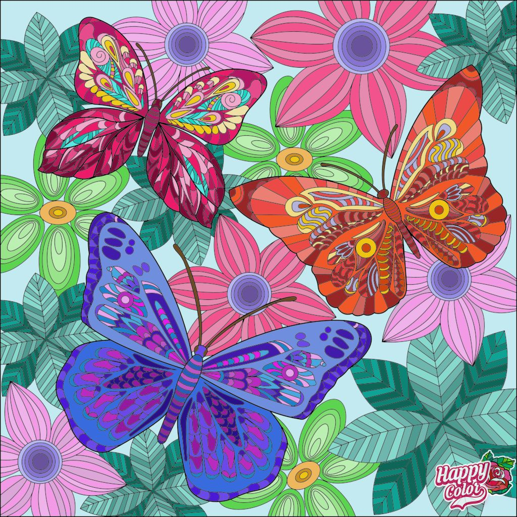 Finished Butterfly Coloring Page Happy Colors Butterfly Wallpaper [ 1024 x 1024 Pixel ]