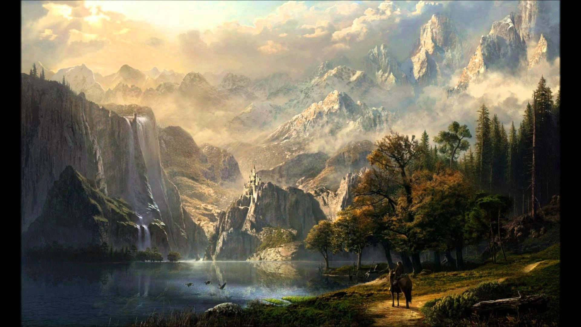 Image May Contain Cloud Sky Mountain Tree Outdoor Nature And Water Fantasy Landscape Matte Painting Landscape Features