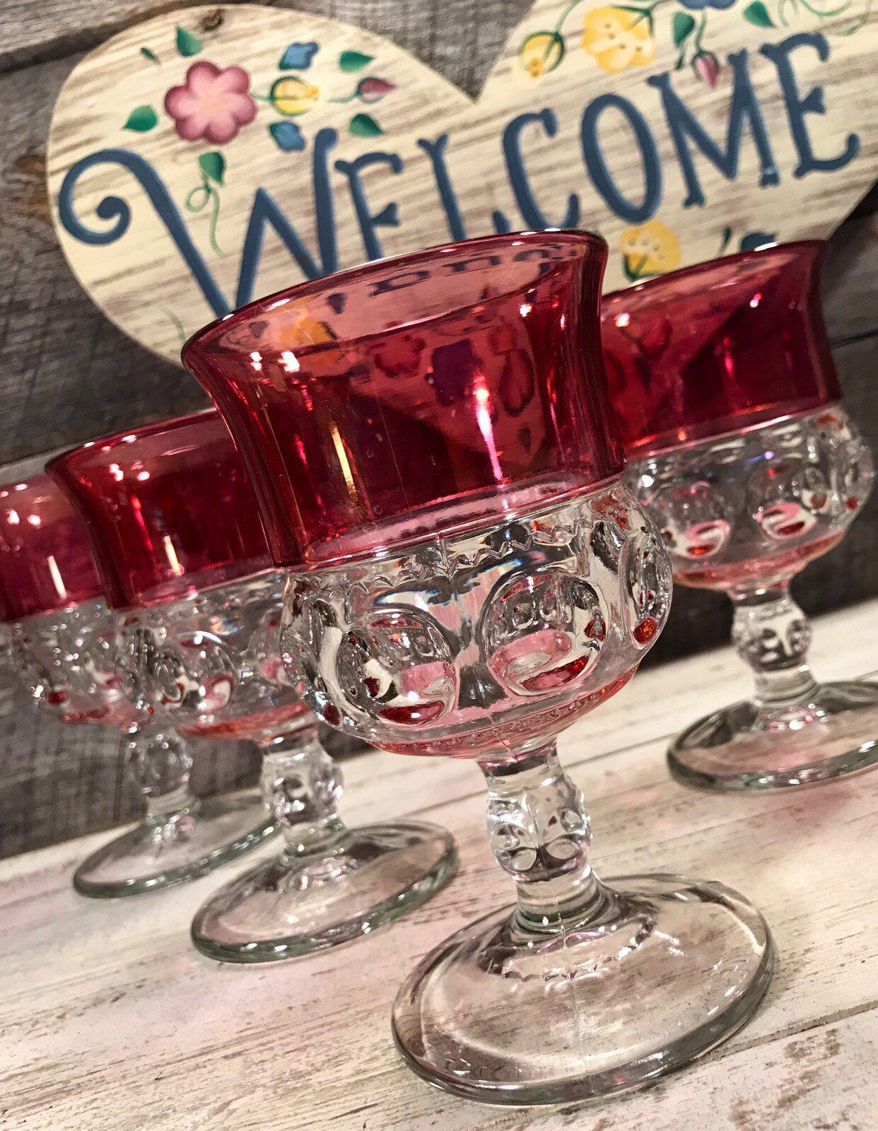 1960 S Gorgeous Set Of 4 Four Cranberry Flash Rare Rim And Botton Flashed Thumbprint Kings Crown Water Goblet Kings Crown Water Goblets Antique Glassware