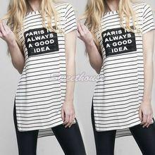 Mulheres camiseta listrada letra impressa t-shirt ocasional Side dividir estilo solto Tops verão 12(China (Mainland))