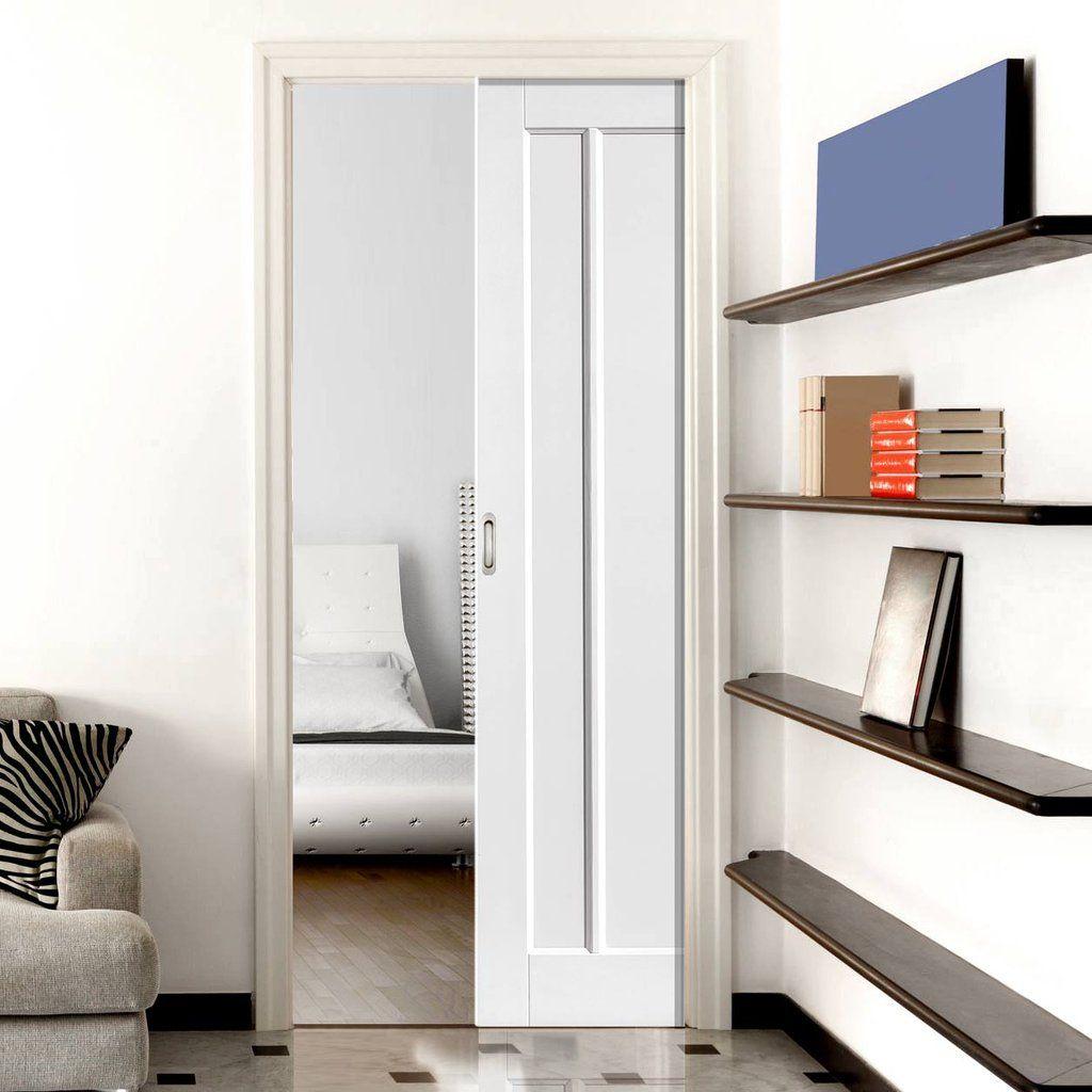 Single Pocket Jamaica Shaker Panel White Sliding Door System In