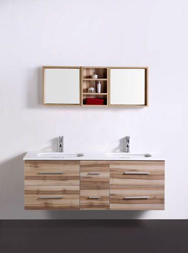 Meuble salle de bain double vasques SAUNATURE (1400mm + 280mm