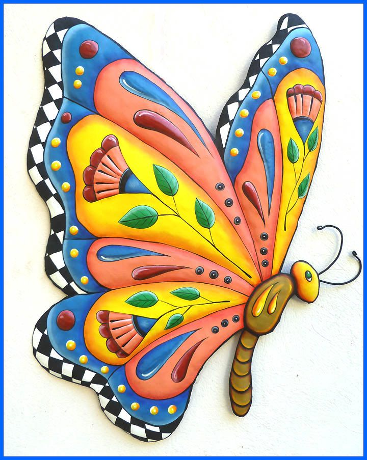 Butterfly wall hanging hand painted metal whimsical art for Outdoor butterfly decor