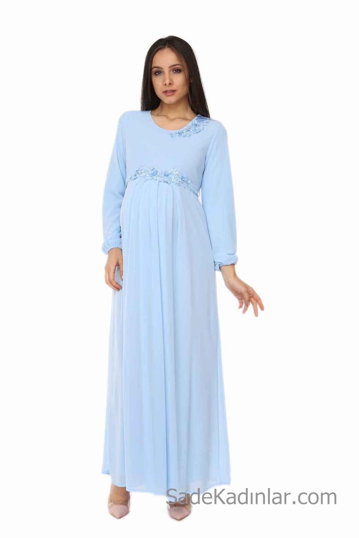 Hamile Abiye Modelleri Bebek Mavisi Uzun Dantel Detayli Uzun Kollu The Dress Bebek Mavisi Uzun Kollu