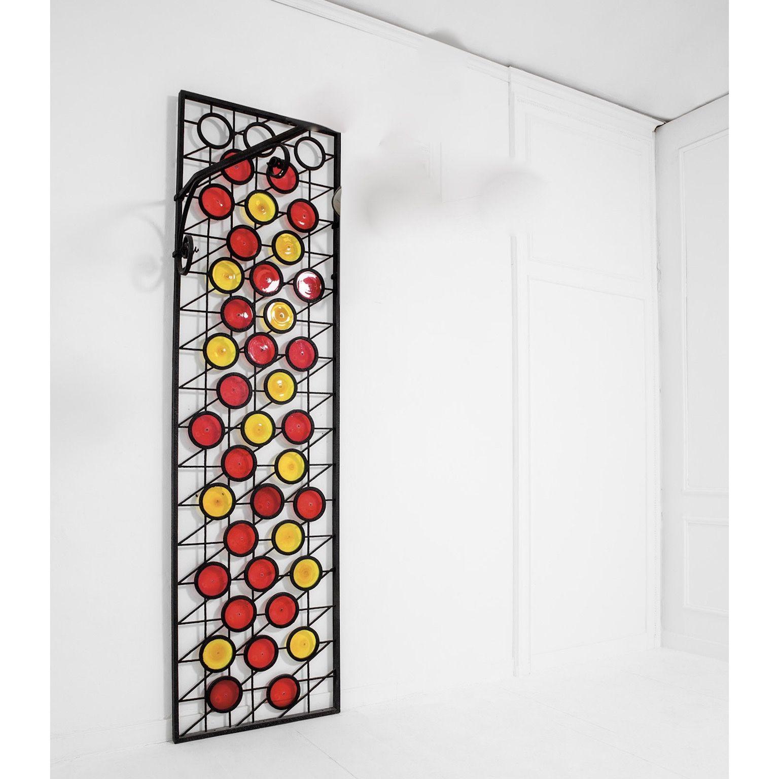 Pareti Divisorie In Vetro Colorato wrought iron panel screen or divider with colored glass