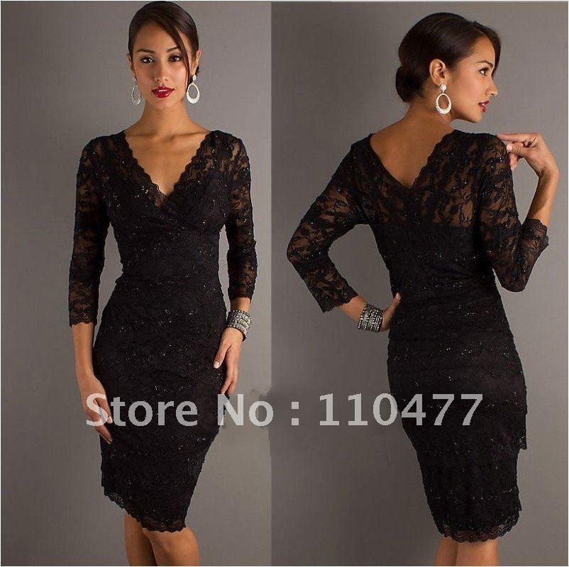 Long black lace dresses for sale