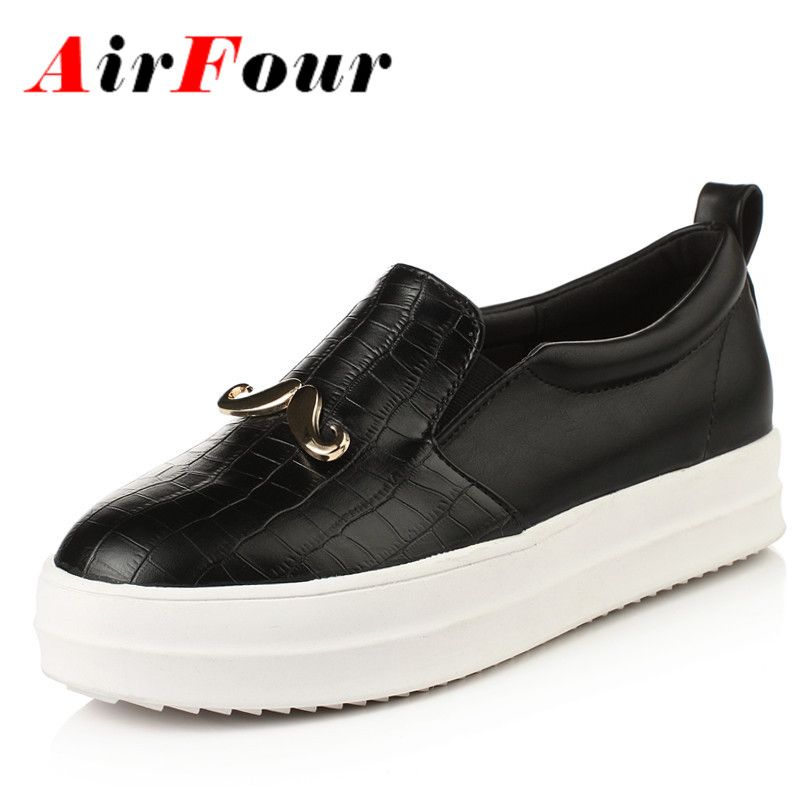 Airfour New Fashion Women Flats Shoes Balck Slip On Loafers Charm Solid Round Toe Casual Shoes Woman Platform Shoes