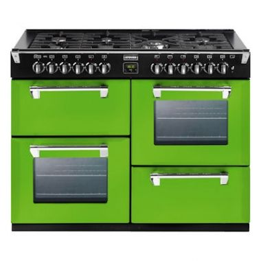 Stoves Richmond 1000DFT Rolling Countryside 100cm dual fuel range cooker in lime green.
