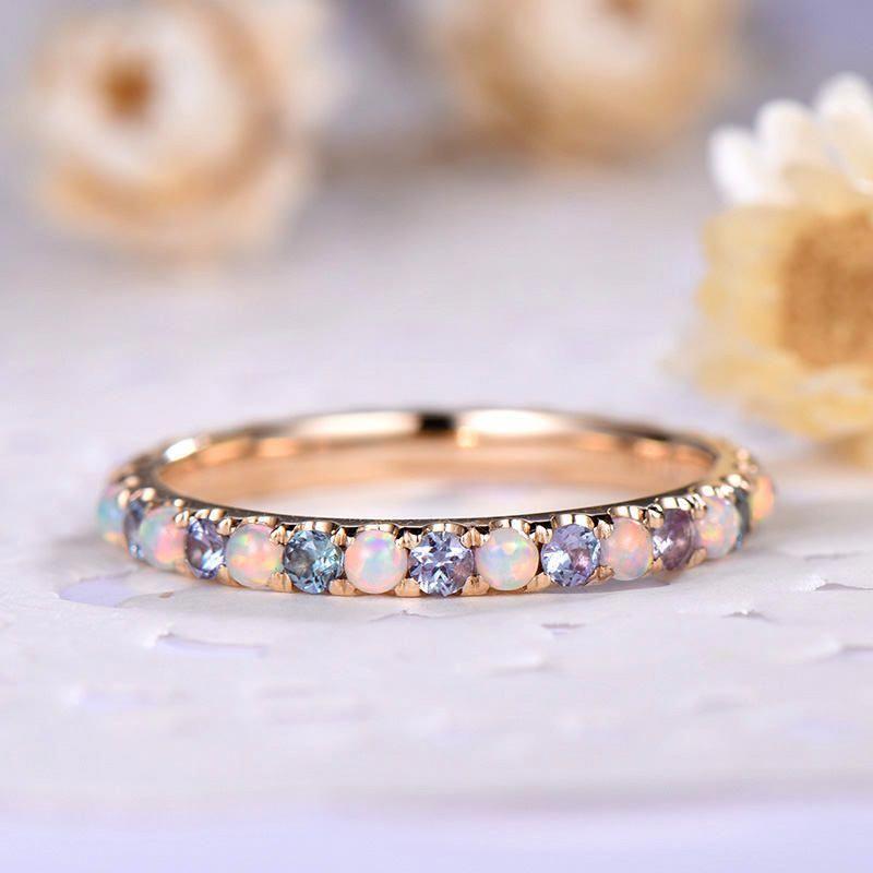 Opal Wedding Band Color Change Alexandrite Engagement Ring 14k Etsy Engagement Rings Opal Alexandrite Engagement Ring Opal Ring Gold
