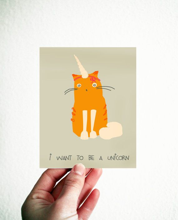 I wanna be a Unicorn Funny Card 35x45 inch by EinBierBitte on Etsy, $5.00