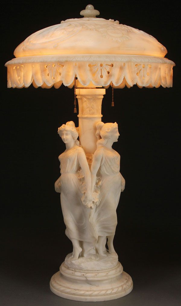 An Italian Carved Marble And Alabaster Three Graces Parlor Lamp Circa 1900 Antique Lamp Shades Art Nouveau Lamps Art Deco Table Lamps
