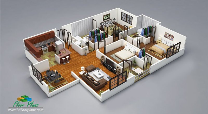 20 Designs Ideas For 3d Apartment Or One Storey Three Bedroom Floor Plans Home Design Lover House Plans With Photos Floor Plan Design 3d House Plans