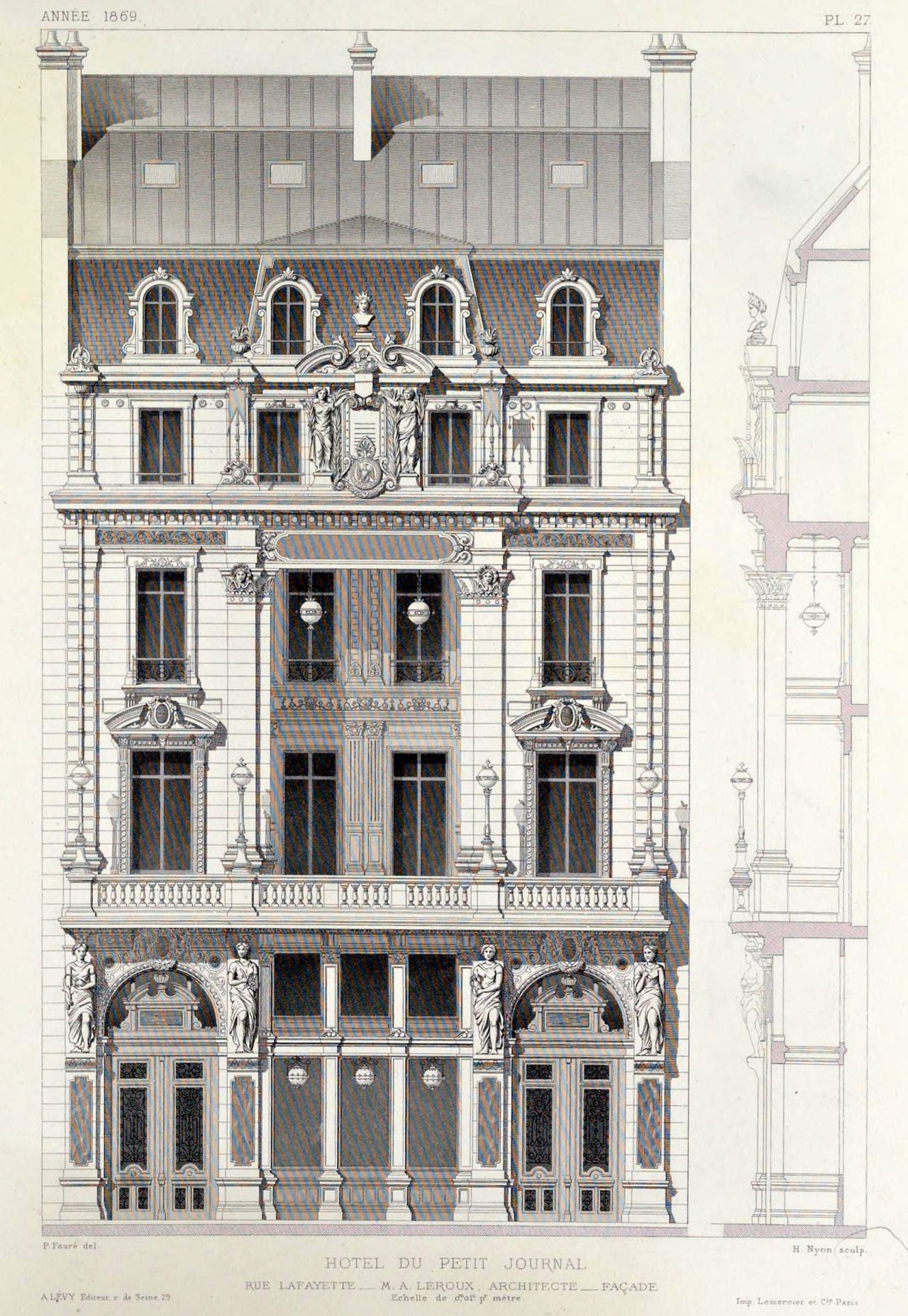 elevation of the hotel du petit journal on rue architecture sketches drawing diagrams. Black Bedroom Furniture Sets. Home Design Ideas