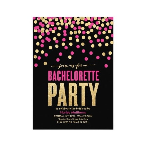 BACHELORETTE PARTY INVITATION ($2.01) ❤ liked on Polyvore featuring home and home decor