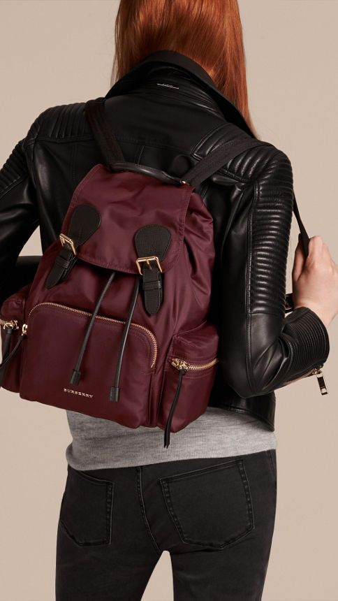 67bc3d2885a5 burberry The Medium Rucksack in Technical Nylon and Leather Burgundy Red - 3